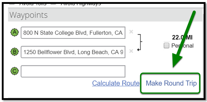 Personal Car Mileage Expense. Waypoints field. There is a green arrow pointing towards the Make Round Trip option in the lower right-hand corner.