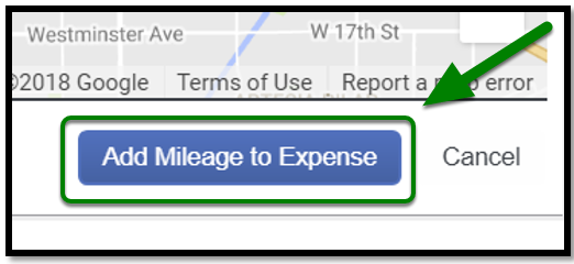 Personal Car Mileage Expense. Add Mileage to Expense button is highlighted, and there is a green arrow pointing towards it.