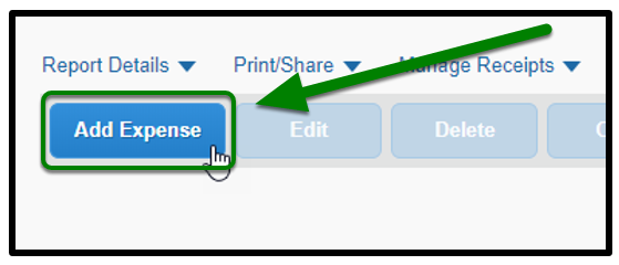 Under Report Details, the Add Expense button is selected. There is a green arrow pointing towards it.