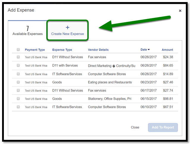 Under Add Expense, the Create New Expense tab is selected, and there is a green arrow pointing towards it.