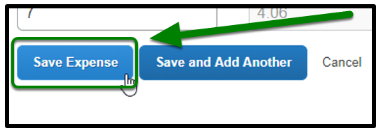 Green arrow pointing towards the Save Expense button.