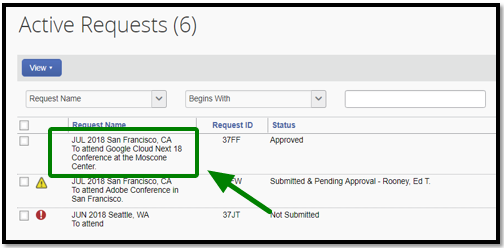 "Requests tab has been opened. There is a title labeled ""Active Requests"" on the top left corner. Highlighted by a green square there is the following text, ""JUL 2018 San Francisco, CA To attend Google Cloud Next 18 Conference at the Moscone Center."" There is a green arrow pointing towards the request."