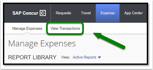 Click on View Transactions to see your expenses.