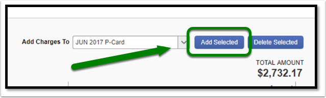 Select Add Selected to complete the process for adding transactions to a report.