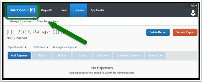 To return to the dashboard select SAP Concur.