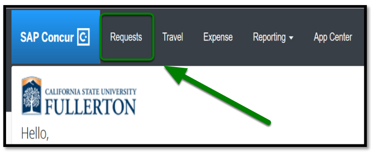 Concur portal. There is a green arrow pointing towards the requests tab on the top left-hand corner.