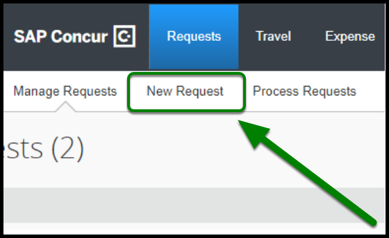 "Concur portal. The request tab has been clicked on, and an option to click on ""new request"" has appeared. The option to create a new request is highlighted, and there is a green arrow pointing towards it."