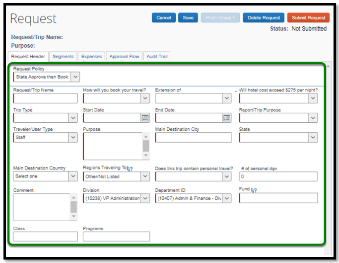 Request header within the Concur Portal