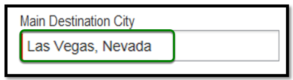 Main Destination City field. Las Vegas, Nevada had been selected as the main city