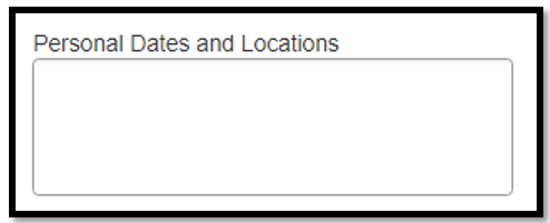 Personal Dates and Locations field. Nothing is written inside the text box