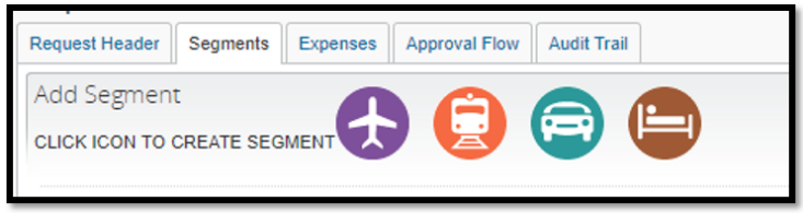 Segments tab. There are four icons displayed representing flight, railroad, rental car, and lodging.