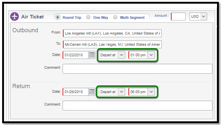 Air Ticket Segment. There are green squares highlighting Departure and time options.