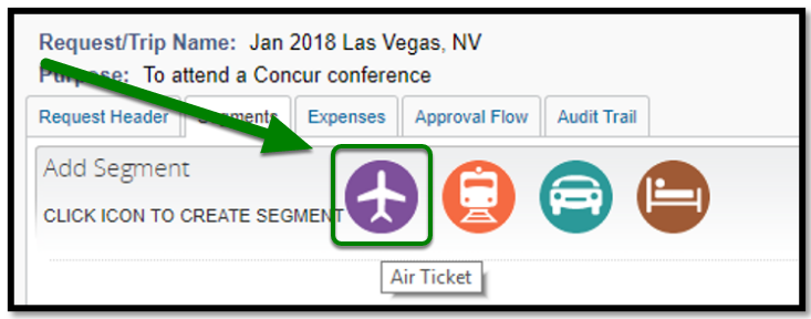 Segments tab. There is a green arrow pointing towards the flight icon