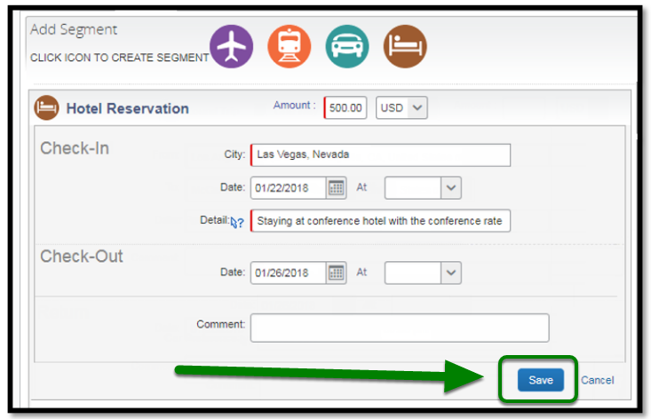 Hotel reservation segment. There is a green arrow and square highlighting the save button.