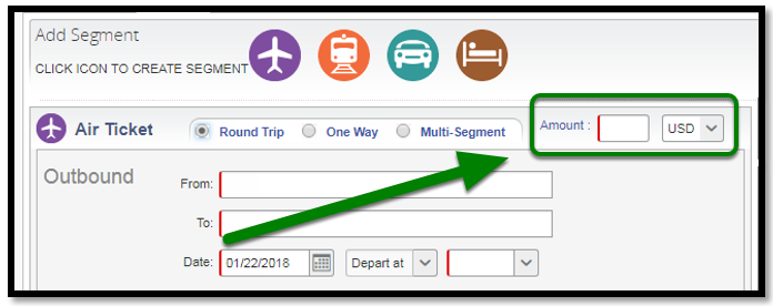 Air Ticket segment. There is a green arrow pointing towards the amount option.