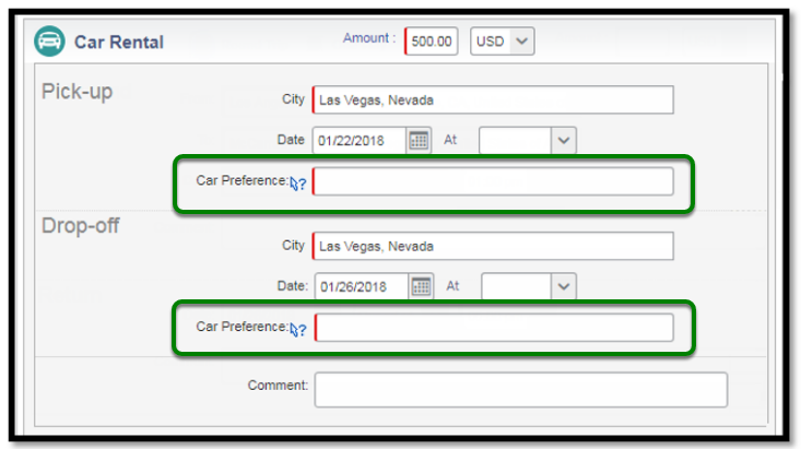 Car Rental Segments. There are green squares highlighting the car preference options.