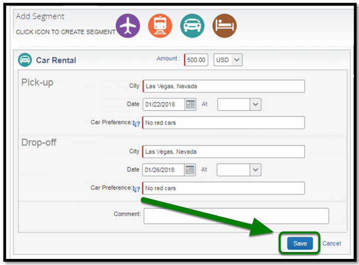 Car Rental Segments. There is a green arrow and square highlighting the save button.