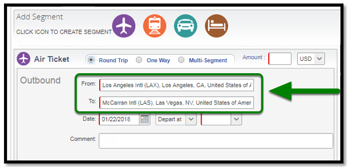 Air Ticket segment. There is a green arrow pointing towards the from and to options.