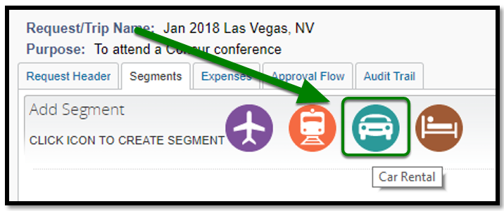 Segments tab. There is a green arrow and square highlighting the car rental option