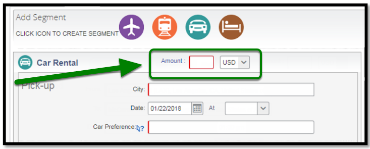 Car rental Segment. There is a green arrow and square highlighting the amount option.