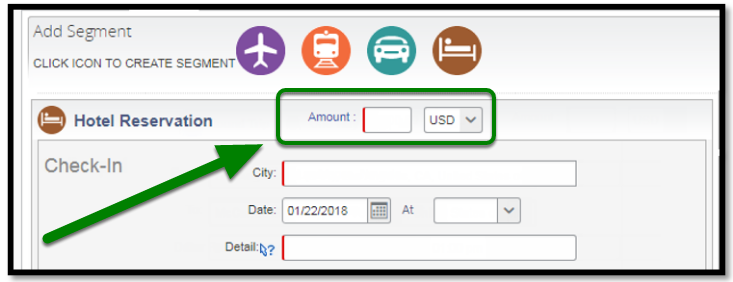 Hotel Reservation Segments. There is a green arrow and square highlighting the amount option.