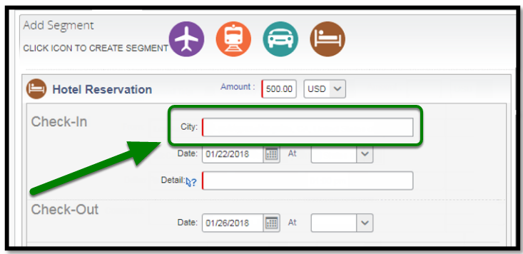 Hotel Reservation. There is a green arrow and square highlighting the city option.