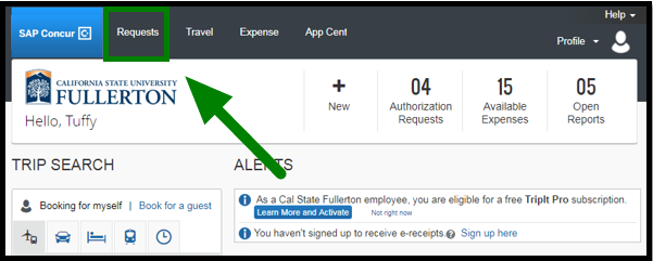 "Concur dashboard. There is a green arrow pointing towards the ""Requests"" tab on the top left corner."
