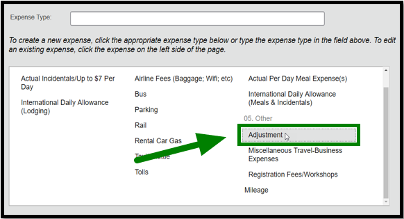 "Expense Type list. There is a green arrow pointing towards the ""Adjustment"" option."