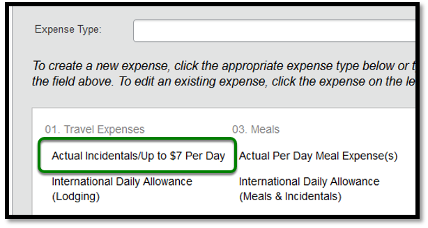 Expense Type lists are zoomed in. There is a green square highlighting the actual incidentals/up to $7 per day option