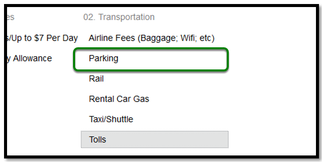 In Expense Types, there is a green square highlighting the parking option.