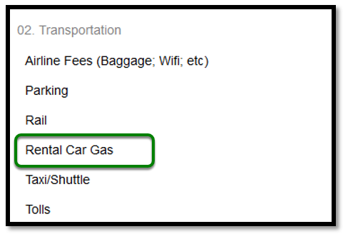In the expense type list, rental car gas is highlighted with a green square