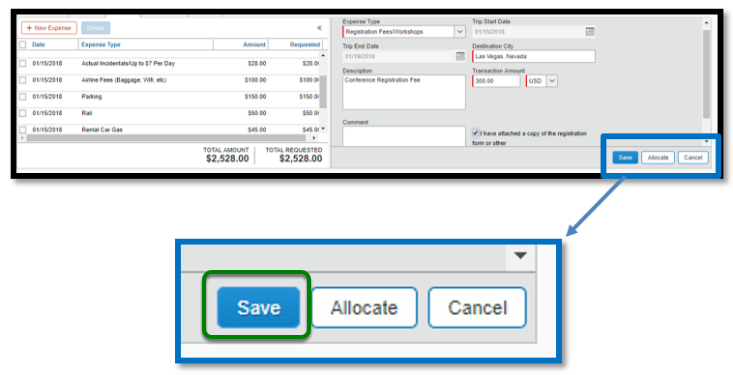 Within the registration fees/workshops expense itemization, there is a zoomed in image of the following options: Save, allocate, and cancel. There is a green square highlighting the save option.