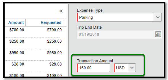 Within the parking expense type itemization, there is a green square highlighting the transaction amount. $150 dollars has been inputted.