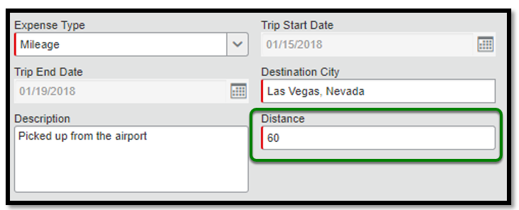 Within the mileage expense itemization, there is a green square highlighting the distance field. Within this field, the number 60 has been inputted.