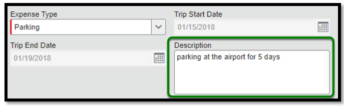 "Within the parking expense itemization, there is a green square highlighting the description box. Inside the box is written, ""Parking at the airport for 5 days."""
