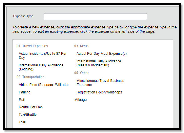 Expense type options are listed. There are four categories: Travel Expenses, Transportation, Meals, and Other.