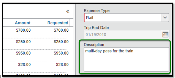 Within the rail expense type itemization, the description box is highlighted with a green square. Inside the text box, the following is written; multi-day pass for the train.