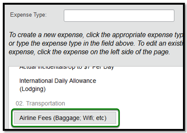 Expense Type. There is a green square highlighting the Airline Fees option.