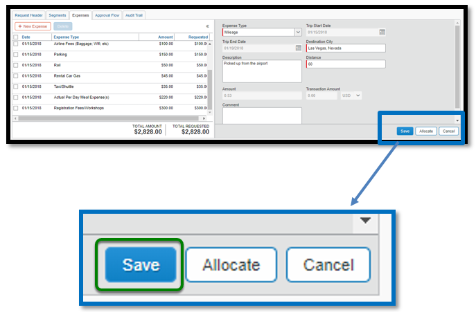 Within the mileage expense itemization, there is a zoomed in image of the following options: Save, allocate, and cancel. There is a green square highlighting the save option.