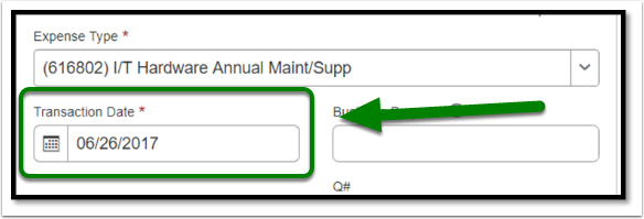 The transaction date field will be automatically filled in.