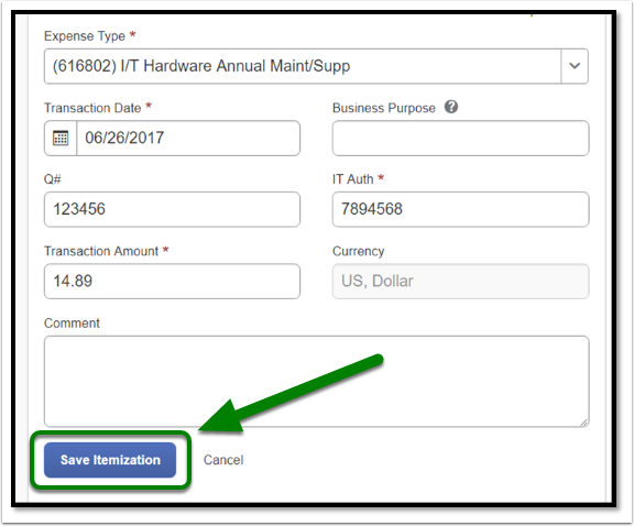Select Save Itemization button when you are finished filling out the fields.