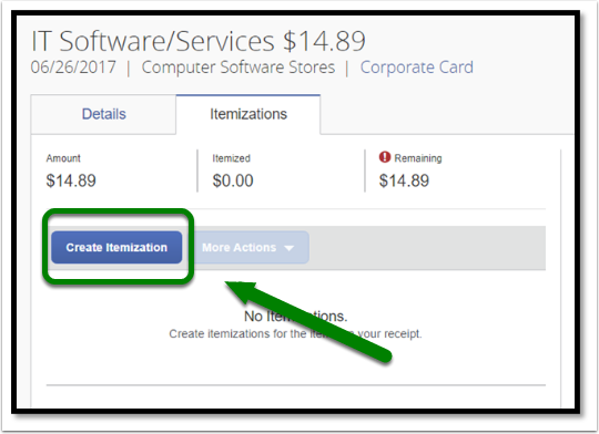Select the Create Itemization button to itemize your expense.