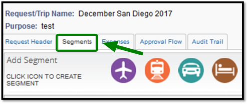 Green arrow pointing towards Segments tab on opened Travel Request.