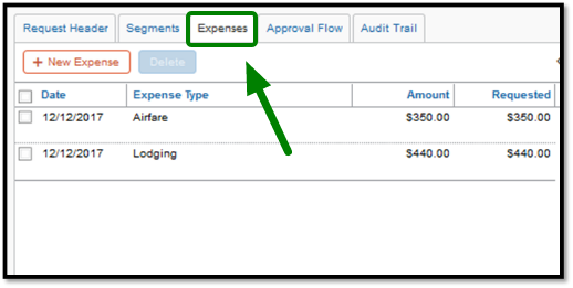 Green arrow pointing towards Expenses tab to add new expenses.
