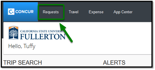 Green arrow pointing towards Requests tab in Concur dashboard.