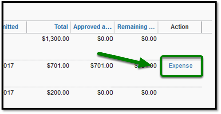 Arrow pointing towards Expense link to create Expense Report.