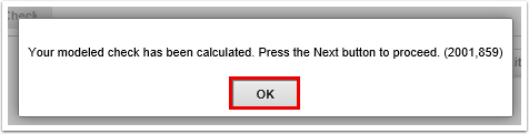 confirmation message for calculate step
