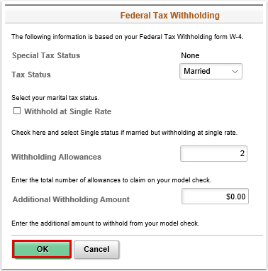 Federal tax withholding pagelet