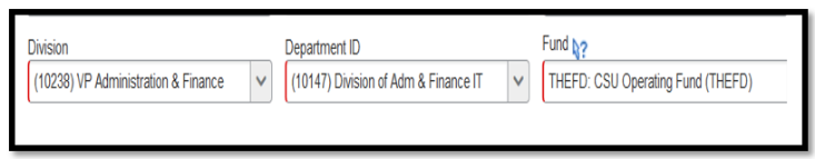 Division, Department ID, and Fund fields.