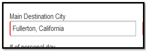 """main destination city field. Within this field, """"Fullerton, California"""" has been inputted."""